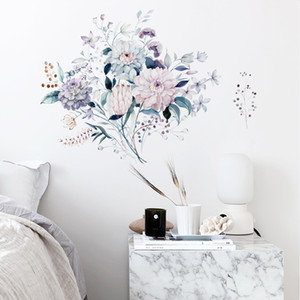Watercolor Flowers Wall Stickers Peony Rose Green Leaves Wall Decals for Baby Nursery Living Room Bedroom Decor PVC