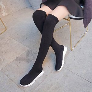 Women Over The Knee Boots 2020 Female Sock Boots Comfort Slip On Shoes Woman Wedge Soft Sneakers For Women Autumn Footwear