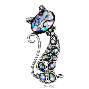 Vintage Natural Abalone Shell Cute Cat Animal Brooch Pin for Gir Women Fashion Corsage Silk Scarf Jewelry Accessories Wholesale