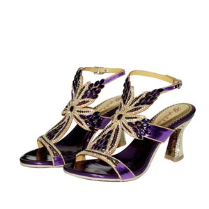 Flower Pattern clássico Verão Rhinestone sandálias roxas sapatos de salto alto das mulheres Evening Sandals áspero Wedding Heel Luxo S