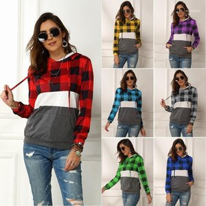 2020 New Style Casual Apparel Plaid Print Women Hoodies Long Sleeve Autumn Designer Fashion Solid Color Spring