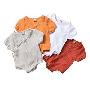 0-18M Yenidoğan Çocuk Erkek Bebek Kız Giyim Yaz Kısa Kollu Düz Romper Şık Kimono Sevimli güzel kıyafetler yeni Sunsuit doğmuş