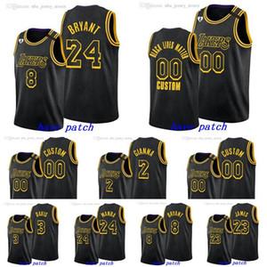 2020 personalizado Homens Los AngelesLakersKobeBryantLeBron James Anthony DavisNBA Black Mamba Dia Jersey
