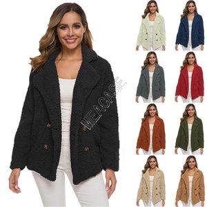 Femmes Sherpa Manteau Toison d'hiver Vestes solide en peluche avec Outwear Pocket Pardessus Plus Size S-5XL Vêtements Veste Boutique S-5XL D82604