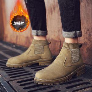 New genuine leather socks high-top overalls men's velvet warm Martin boots handmade stitching men's shoes
