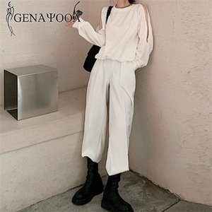 Genayooa New 2 Piece Sets Womens Outfits Causal Loose Tracksuit Women With Zippers Streetwear Sweat Suit Set Top And Pants 2020