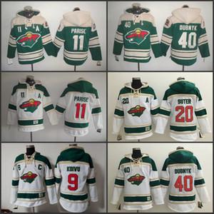 Old Time Hockey maschile 2016 Stadio Serie Minnesota Wild 40 Devan Dubnyk 11 Zach Parise 20 Ryan Suter 9 Mikko Koivu felpe