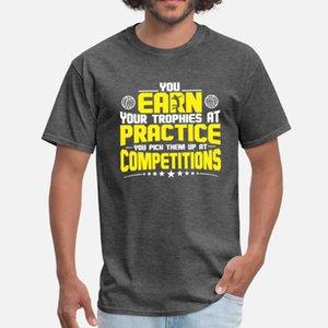 Você Ganha troféus no voleibol prática da Camisa t homens malha camisa de manga curta O pescoço da Trend solto New Style Pattern verão