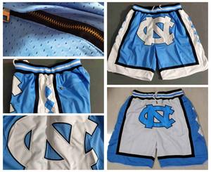2020 talones Sólo NCAA North Carolina Tar bolsillos cortos Nuevos Equipos transpirable pantalón clásico de deporte baloncesto de la universidad de la cremallera Pantalones cortos