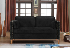 US Stock DHL 3-5 Days Fast Shipping 2P+3P Living Room Black Sofa Comfortable & Stable Multi-Seat Sofa W308S00004