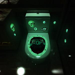 Aydınlık Tuvalet Çıkartma Korku Kafatası Cadı Motif Hareketle Banyo Klozet Kapağı Sticker Halloween WC Ev Dekorasyonu DWE1884