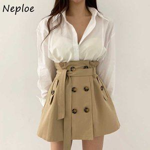 Neploe zweireihiger Kordelzug schicke Taschen Rock Solid Color High Waist Fashion Rock-Frauen All-Gleiches A-line Femme Jupe
