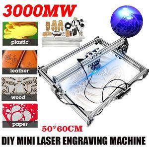 Máquina de grabado láser CNC 3000MW 50x65cm DC 12V 2AXIS DIY Desktop Mini grabador Router de madera / cortador / impresora + gafas láser