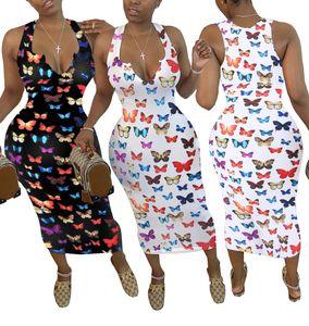 Sexy Spaghetti Strap Dress Womens Designer Batterfly Pattern Sleeveless Bodycon Dresses Summer Casual Women Slim Holiday Dresses
