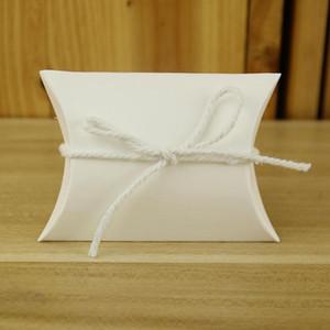 50pcs / lot Favor Şeker Kutusu Çanta Craft Kağıt Yastık Şekli Düğün Favor Hediye Kutuları Kraft Kağıt Parti Kutu Çanta doğum günü partisi Tedarik BH3685 DBC
