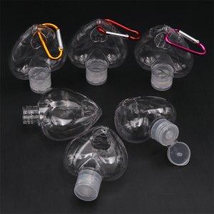 50ML PETG Temizle Şeffaf Plastik El Temizleyici Seyahat Şişe DHL D81301 Hook Anahtarlık Kalp ile Alkol Doldurulabilir Şişe boşaltın