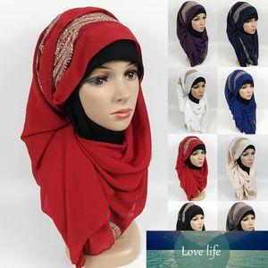 180x75cm High quality Chiffon Women Scarf Plain Muslim Long Shawl rhinestone Hijab Headscarf Lady Hood Wraps Stole