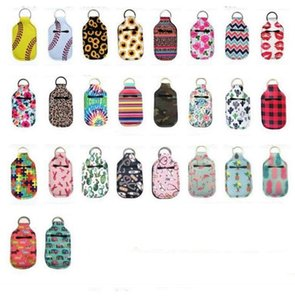 Hand Sanitizer Holder Lipstick Sunflower Keychain Covers Neoprene Insulator Keyring Bags Soap Perfume Bottle Covers Accessories DHE1058