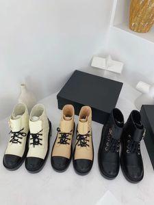 2020 осень / зима новый стиль шнуровки лодыжки ботинки женщин цепь толщиной с бисквитных толстым дном водонепроницаемый платформы Мартин сапоги