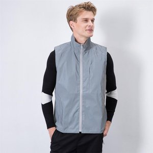 Male Solid Color Clothing Mens Reflection Lapel Neck Vests Sleeveless Casual Mens Zipper Outerwear With Pockets