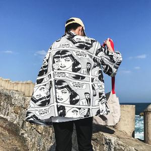 Erkekler Graffiti karikatür Ceket Harajuku Kimono Japon Hip Hop Streetwear Ceket Coat Yaz Erkek ceketler giyimi