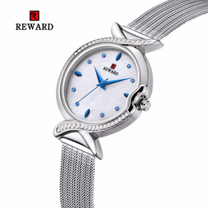 RICOMPENSA 2019 vendita calda di lusso con strass vigilanza delle donne Moda donna Orologi braccialetto d'argento casuale signore Orologio Reloj Mujer