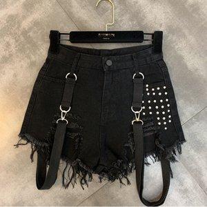 La felicidad Ciruela 2020 Verano Otoño Nueva rebordear la correa de hombro Tendencia Mujer Negro pantalones cortos de mezclilla