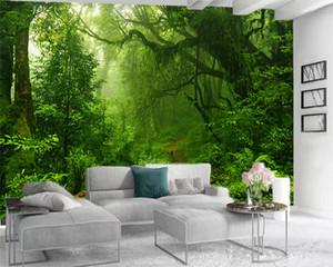 Mural Paper Landscape 3d Mural Wallpaper Dense Green Forest Digital Printing HD Decorative Beautiful Wallpaper