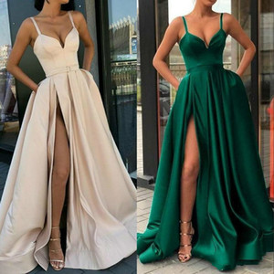 High Split Evening Dresses 2020 with Dubai Middle East Formal Gowns Party Prom Dress Spaghetti Straps Plus Size Vestidos De Festa