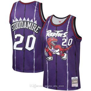 HombresTorontoRapaces 20 Damon Stoudamire Mitchell Ness Jersey púrpura 1995-1996 maderas duras Clásicos alero jugador 04
