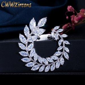 CWWZircons Нового конструктор Olive Branch лист Цирконий Брошь для женщин повелительницы шарф пряжки ювелирных аксессуаров BH014