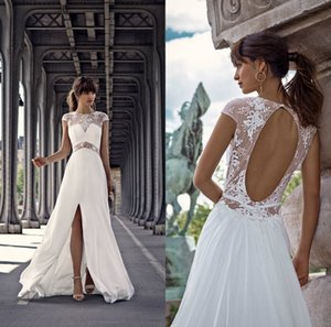 Satin Lace Appliqued Wedding Dresses Custom Made Wedding Gowns Court Train Backless A Line Bridal Dress