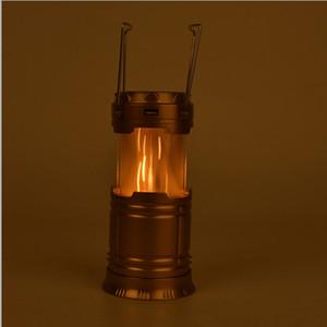 Şarj edilebilir Güneş Kamp Fener 6 LED Işık Kaynağı Poweful taşınabilir kamp Fenerler Açık Çadır Işık Lambası