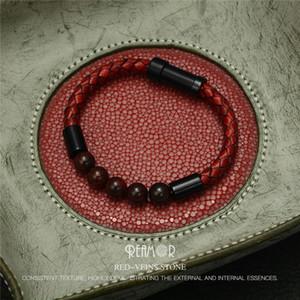 RUIMO Tiger Eyes Bracelet en cuir véritable corde tressée en pierre naturelle en acier inoxydable magnétique Bracelet à fermoir hommes Trendy Bangle