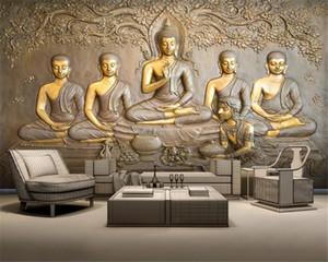 3d Photo Wallpaper Custom 3D embossed golden Buddha background wall Silk Mural Wallpaper