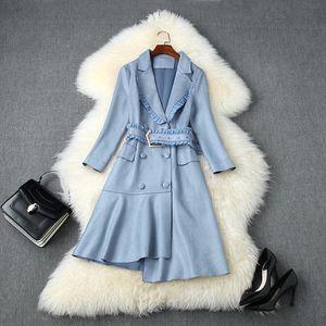 2020 Güz Sonbahar Uzun Kollu Çentikli-Yaka Pembe / Mavi Saf Süet Kasetli Kuşaklı çift Breasted Elbise Şık Günlük Elbiseler LAG12T11161