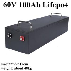 Металлический корпус Lifepo4 Аккумулятор 60V 100Ah со смарт-сильным BMS для Электрический самокат Трехколесный Golf Cart + 10A зарядное устройство