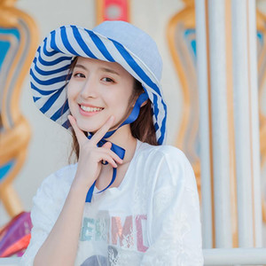 56-58cm Beach Sun Cap Summer Lady Wide Brim Fisherman Hat Women Casual Sunscreen Foldable Double-sided Striped Bucket Hat Plus