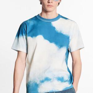 20SS bleu ciel blanc ciel T-shirt imprimé d'été haut de gamme respirante T-shirt décontracté High Street manches courtes Hommes Femmes Outdoor Tee HFYMTX1022