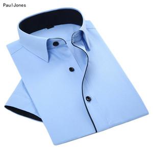 Paul Jones Summer Short Hommes Sleever formelles Chemises col Noir Asiatique Patchwork Chemises Robe simple d'homme 4XL bon marché Vêtements Chine