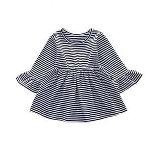 DHgate Fashion Toddler Kids Baby Girls Striped Sleeve Casual Princess Party Dress Z0208
