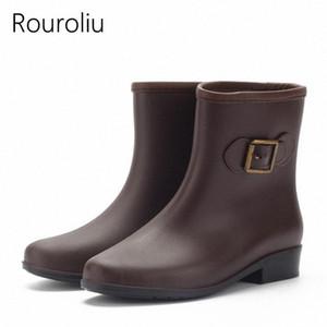 Rouroliu Femmes Talons plats Bottes de pluie Femme Antiderapant Boucle rainboots Chaussures Femme Etanche Wellies TR103 IsRD #