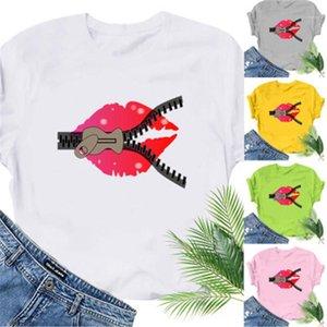 As fêmeas Casual teste padrão colorido Lip Fun T-shirt Loose Lips camisetas Mulheres Zipper Fashion Trend em torno do pescoço de manga curta Tees Designer