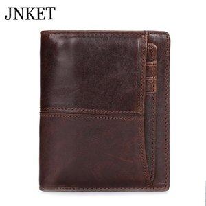 JNKET 레트로 남성 지갑 소 가죽 클러치 지갑 지갑 멀티 카드 짧은 동전 지갑 카드 홀더