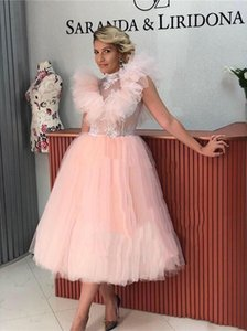 New Style Lace High Collar Ruffles Capped Sleeves Prom Dresses Tea Length Tulle A Line Bride Party Cocktail Evening Gowns
