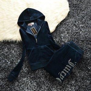 Frühling / Herbst 2019 Frauen Marke Velvet Stoff Tracksuits Velour Anzug Frauen Trainingsanzug Pullover und Hosen Fett Schwester Sportbekleidung