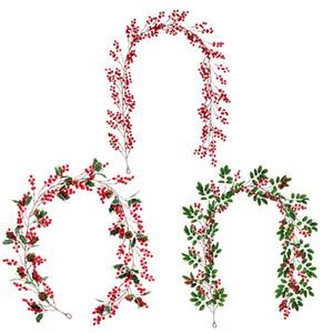 Noel Akasya Fasulye Rattan Kırmızı Akasya Fasulye Yeşil Yaprak 190cm Yapay Bitkiler Vines Ev Otel Yapay Bitkiler Vines Noel decoratio