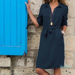 Hot Sale Umlegekragen Halbarm Schnürsystem Hemd-Kleid-beiläufige feste Taschen knielangen Kleider Damenmode Sommer-Kleid Vestidos