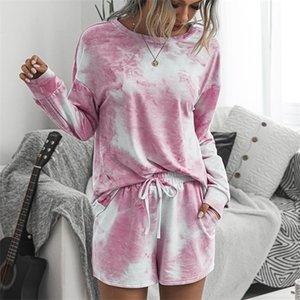 CWFMZQ Осень двухкусочный Набор женщин с длинным рукавом Короткие штаны Tracksuit Плюс Размер Tie-краситель Sweatpants потовых костюмы Femme Homewear X0923