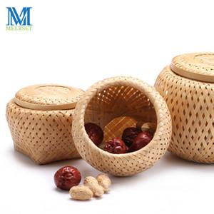 Meltset 1 Pc en bambou naturel Boîte de rangement pour Mêle bonbons Snackes style chinois tissé main Cuisine Container